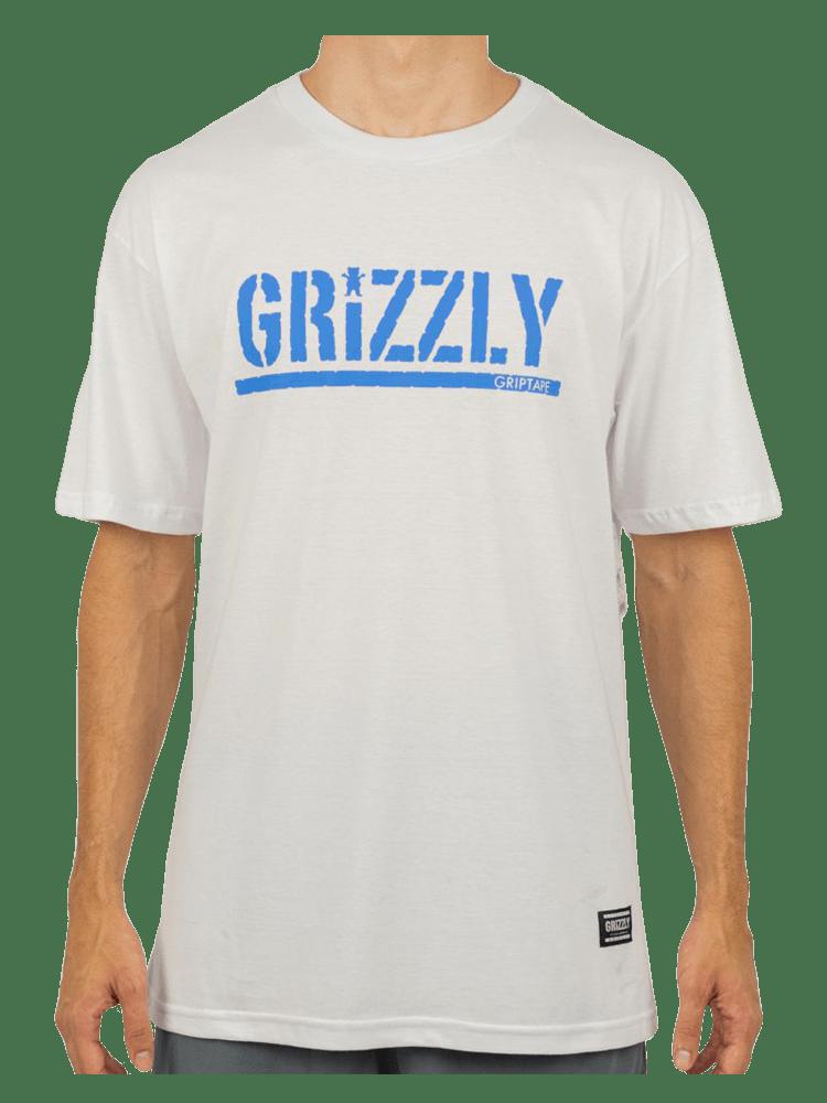 Camiseta Grizzly Stamped Branca Logo Azul