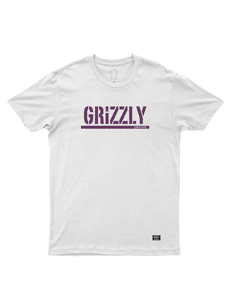 Camiseta Grizzly Stamped Branca Logo Roxo
