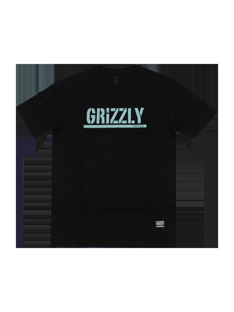 Camiseta Grizzly Stamped Preta Logo Azul Claro