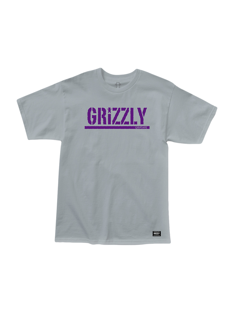 Camiseta Grizzly Stamped Roxa / Cinza