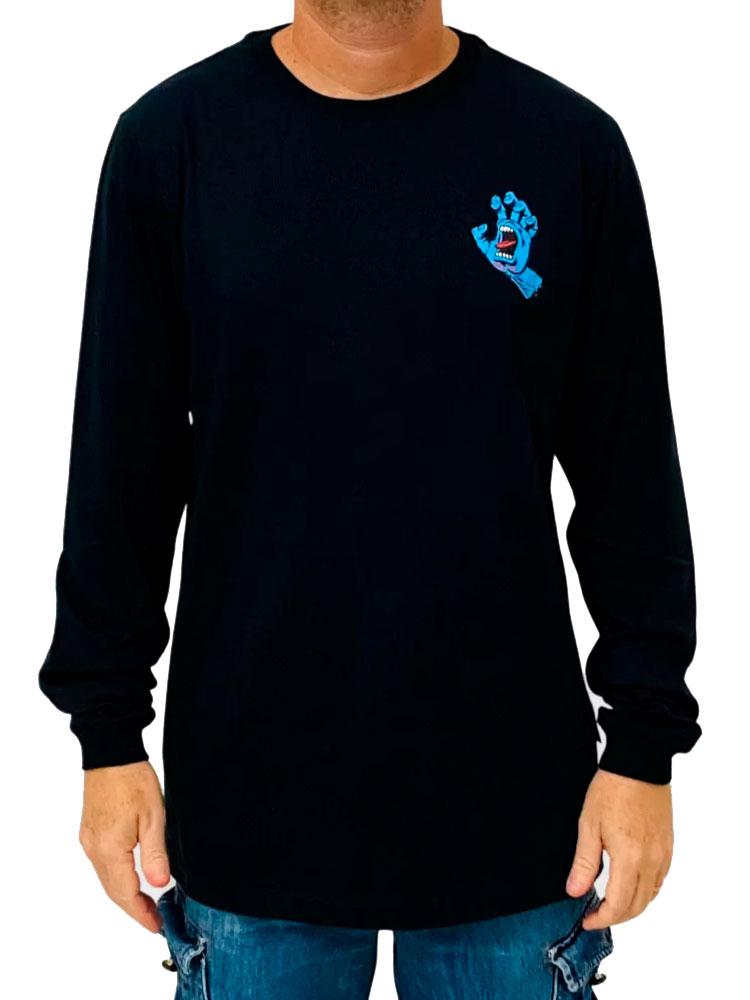 Camiseta Manga Longa Santa Cruz Screaming Hand Blue II Preta