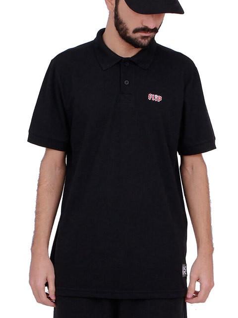 Camiseta Polo Flip HKD Chest Preta