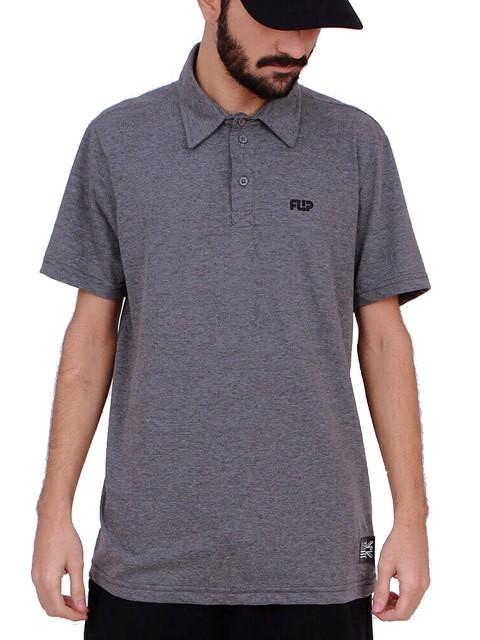 Camiseta Polo Flip Odyssey Mono Chest Cinza Mescla