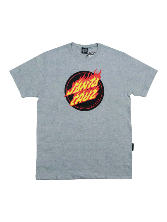 Camiseta Santa Cruz Flaming Dot Front Cinza Mescla