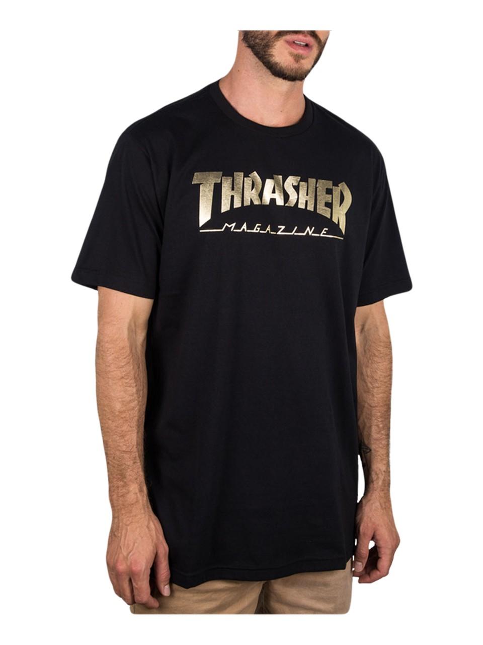 Camiseta Thrasher Gold Foil Mag Preta