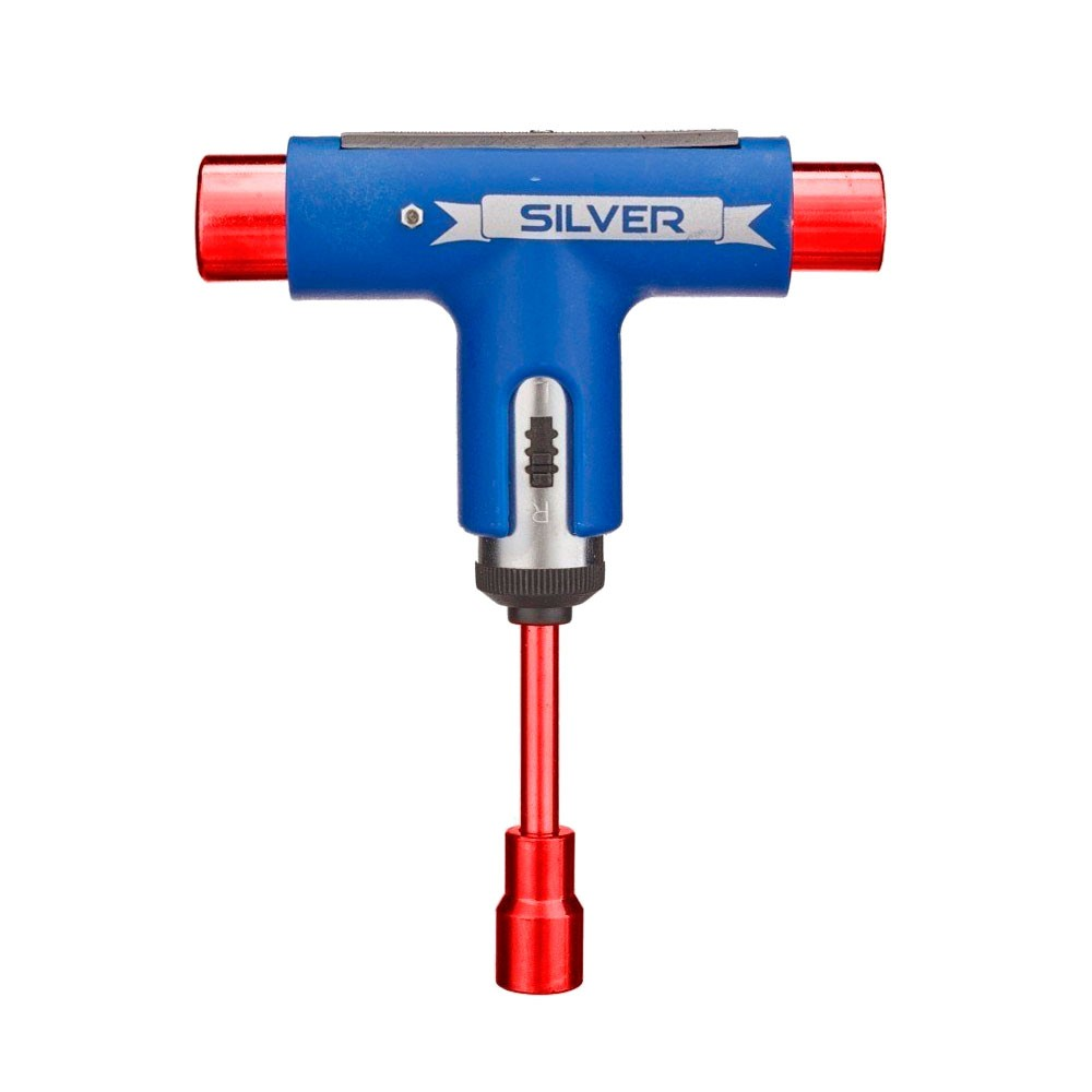 Chave T Silver Matte Blue / Red