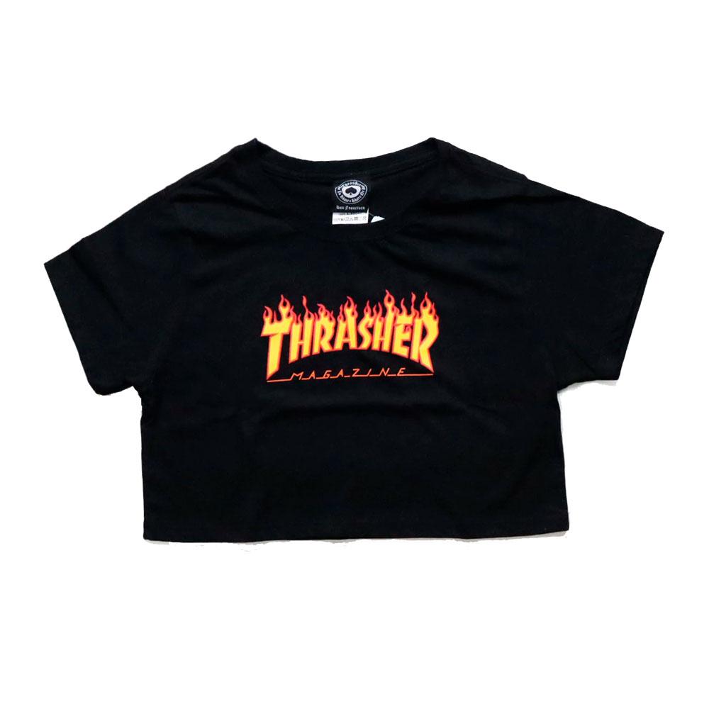 Cropped Thrasher Flame Preta