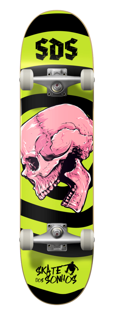 Fingerboard Skate Dos Sonhos Maple Skull And Green