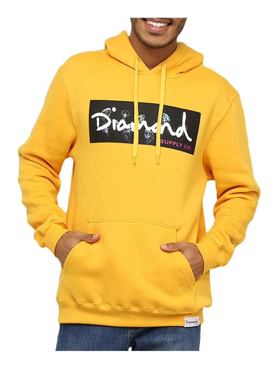 Moletom Diamond Box Logo Hoodie Amarelo