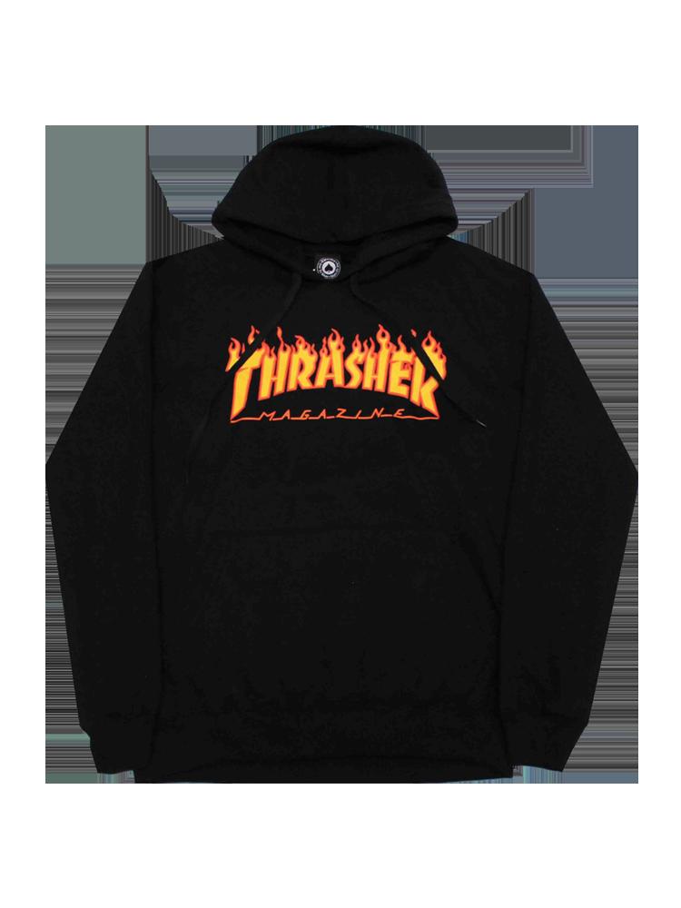Moletom Thrasher Juvenil Flame Logo Preto