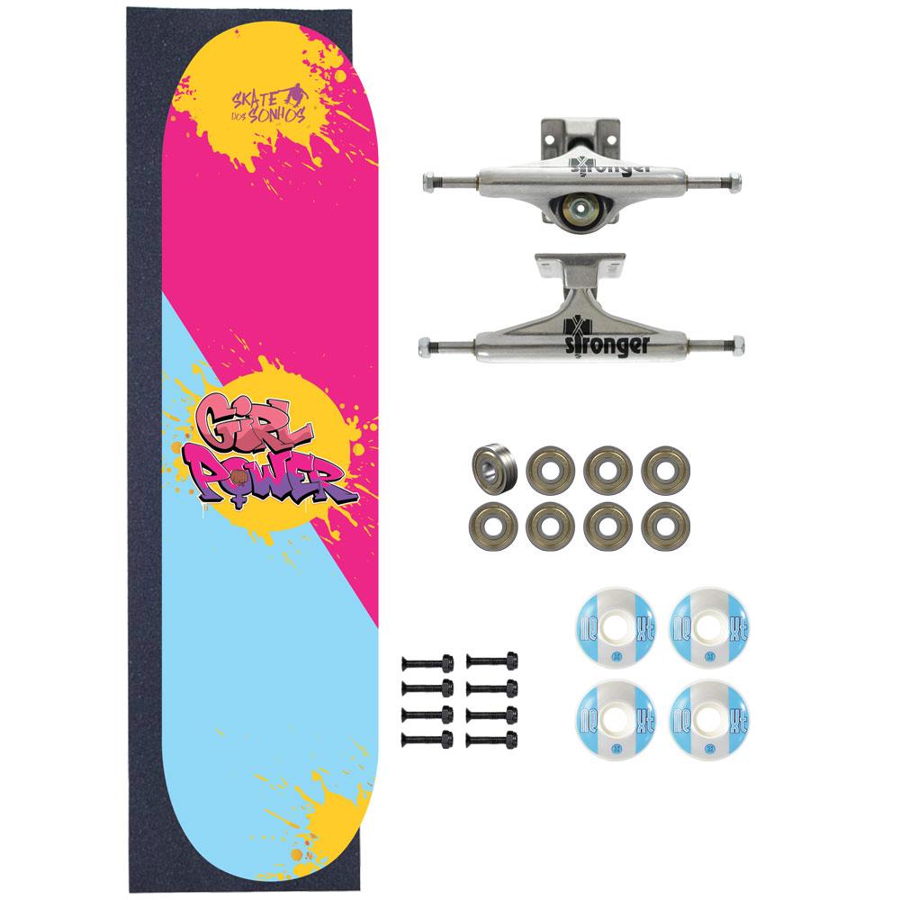 Skate Completo Amador SDS Co 7.75 Girl Power Base