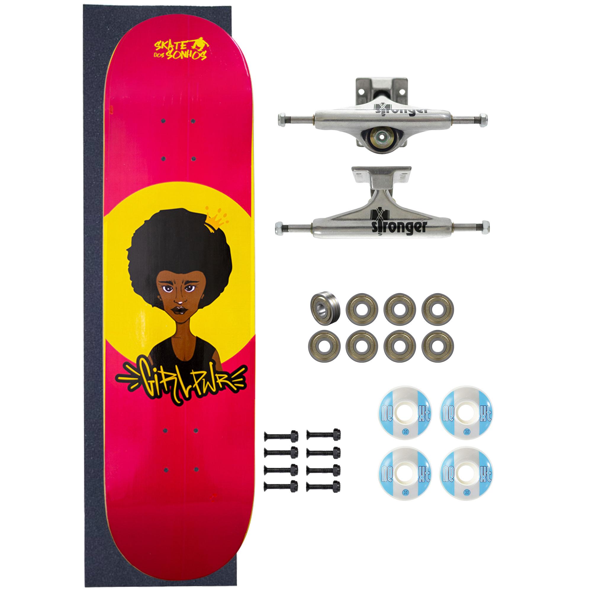 Skate Completo Amador SDS Co 8.0 Girl Power Princess