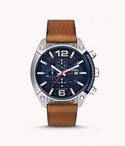 Diesel — Relógio masculino de couro marrom DZ4400