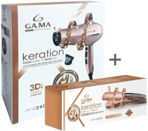 KIT GAMA 127V - SECADOR GAMA KERATION 3D 2200W + CHAPINHA X-WIDE KERATION PRO 230°C