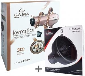 KIT GAMA 127V - SECADOR GAMA KERATION 3D 2200W + DIFUSOR UNIVERSAL