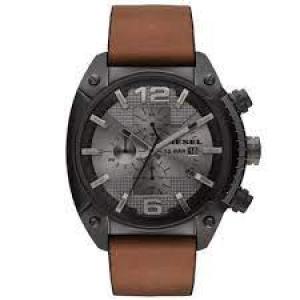 Relógio masculino Diesel DZ4317 Overflow analógico com movimento de quartzo e mostrador marrom