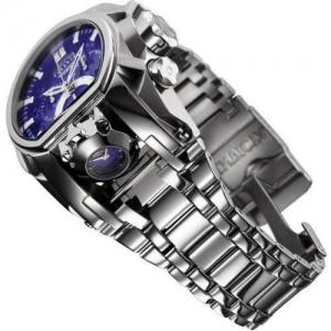 Relógio masculino Invicta Reserve Quartz com pulseira de aço inoxidável, prata