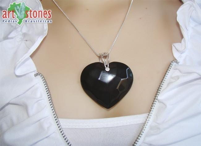 Pingente de  Coração Facetado em Ônix Natural - PGCO_104  - ArtStones