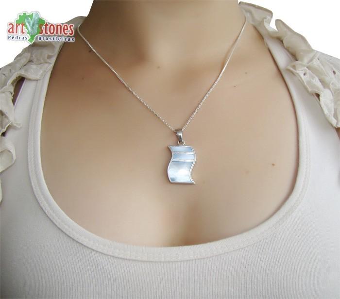 Pingente de Prata 925 com Madrepérola Azul - PG041  - ArtStones