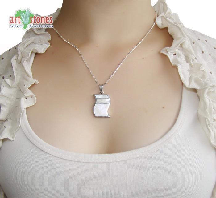 Pingente de Prata 925 com Madrepérola Natural - PG042  - ArtStones