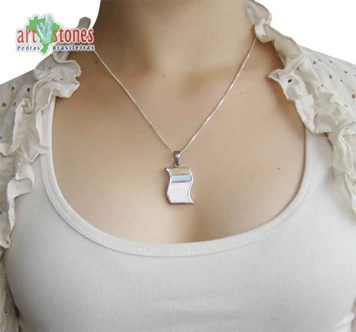 Pingente de Prata 925 com Madrepérola Colorida - PG040  - ArtStones