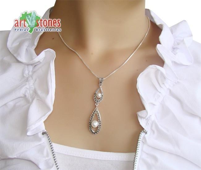 Pingente de Prata Indiana com Pérola Cultivada - PG049  - ArtStones