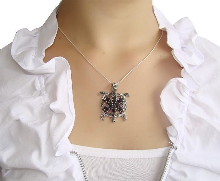Pingente Tartaruga em Prata com Safiras Naturais - PG060  - ArtStones