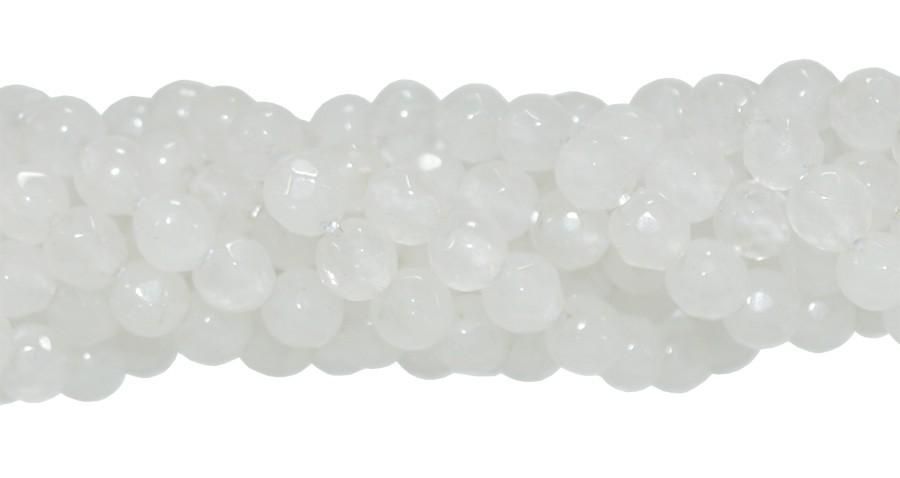 Jade Branco Facetado Fio com Esferas de 4mm - FESF_112/4FA  - ArtStones