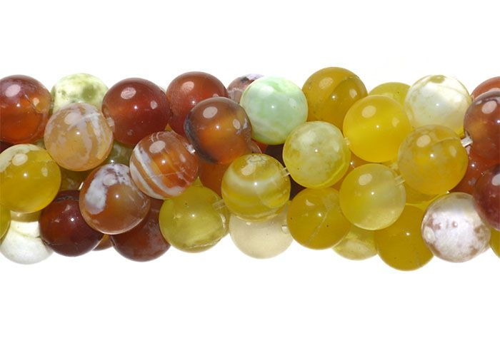 Ágata Collor Mix Amarela Fio com Esferas de 8mm - FAG_240/8