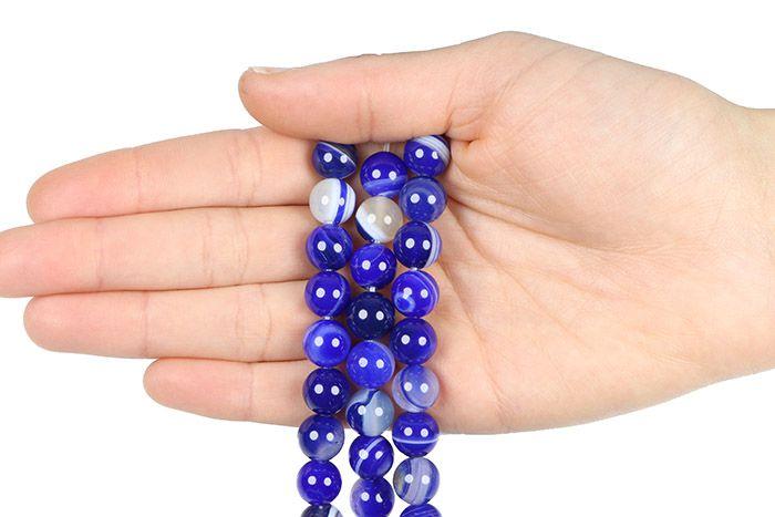Ágata Azul Mesclada Fio com Esferas de 10mm - F000  - ArtStones