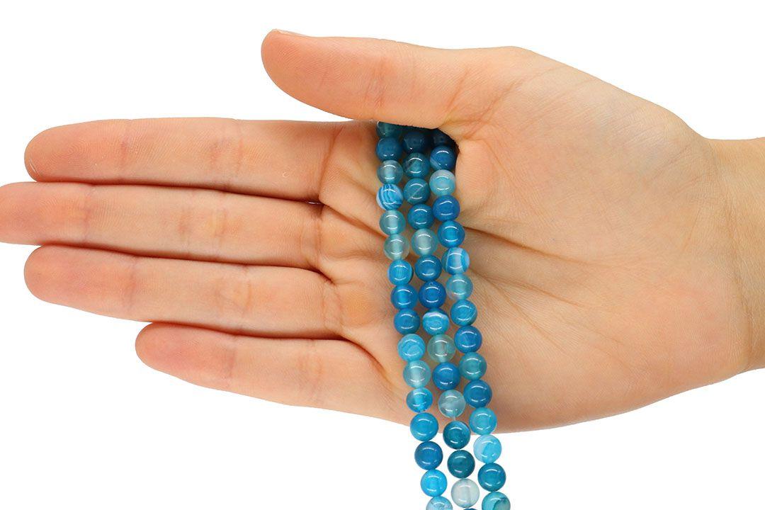 Ágata Azul Mesclada Fio com Esferas de 6mm - F015  - ArtStones