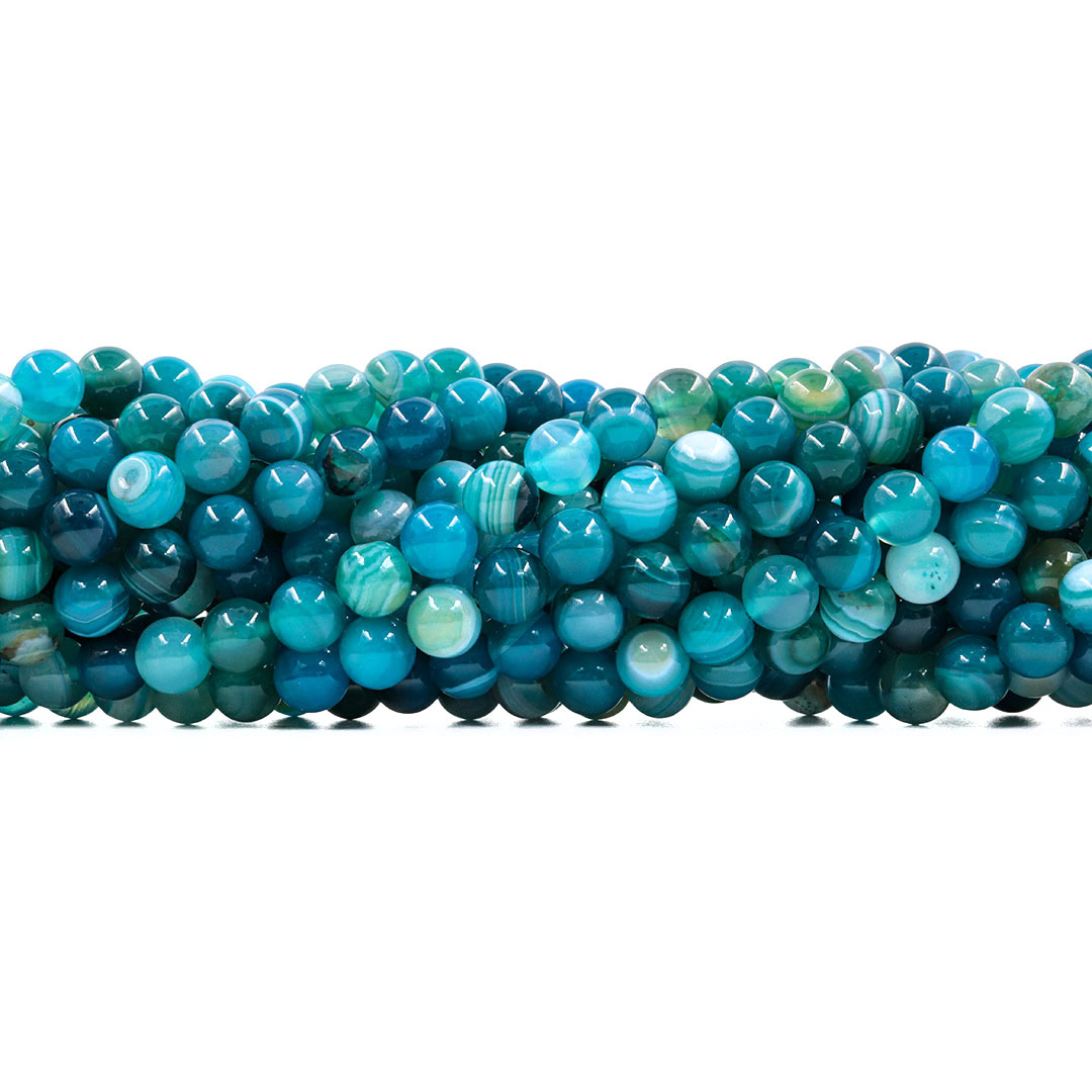 Ágata Azul Mesclada Fio com Esferas de 8mm - F625  - ArtStones