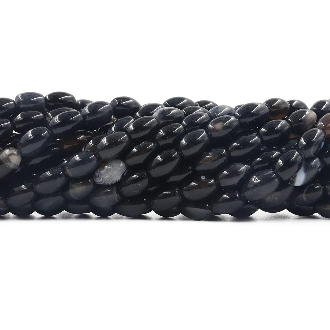 Ágata Black Mesclada Formato Barril de 12x8mm - F679  - ArtStones