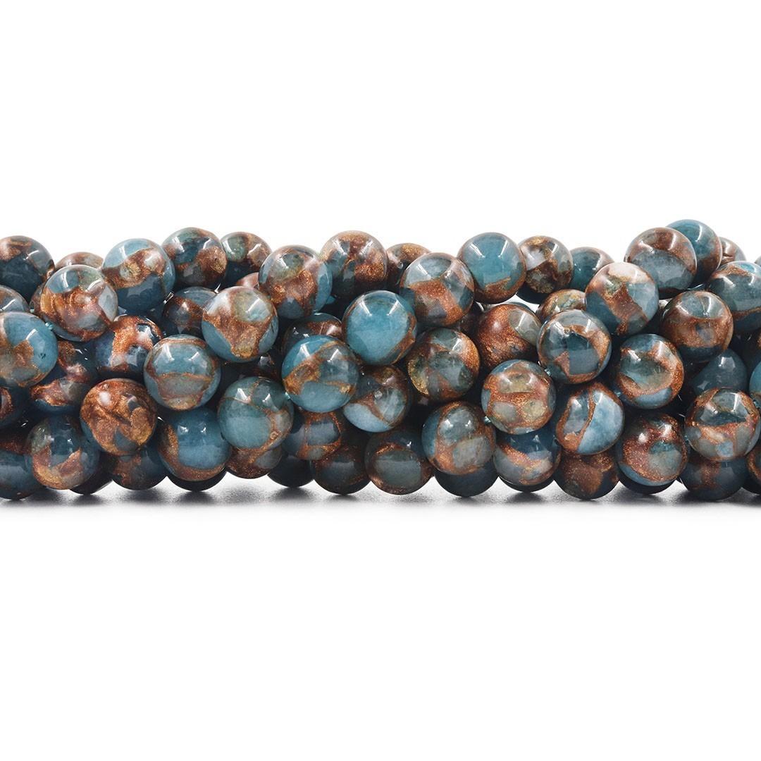 Ágata Blue Lake Azul Natural Fio com Esferas de 10mm - F022  - ArtStones