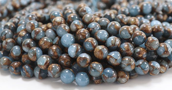 Ágata Blue Lake Azul Natural Fio com Esferas de 8mm - F021  - ArtStones