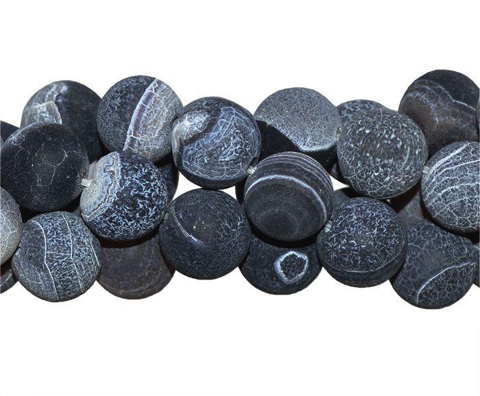 Ágata Botswana Craquelada Fio com Esferas de 8mm - FESF_405/8  - ArtStones