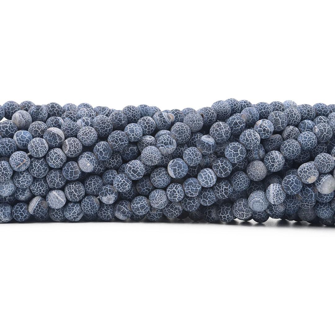 Ágata Botswana Craquelada Fio com Esferas de 6mm - F034  - ArtStones