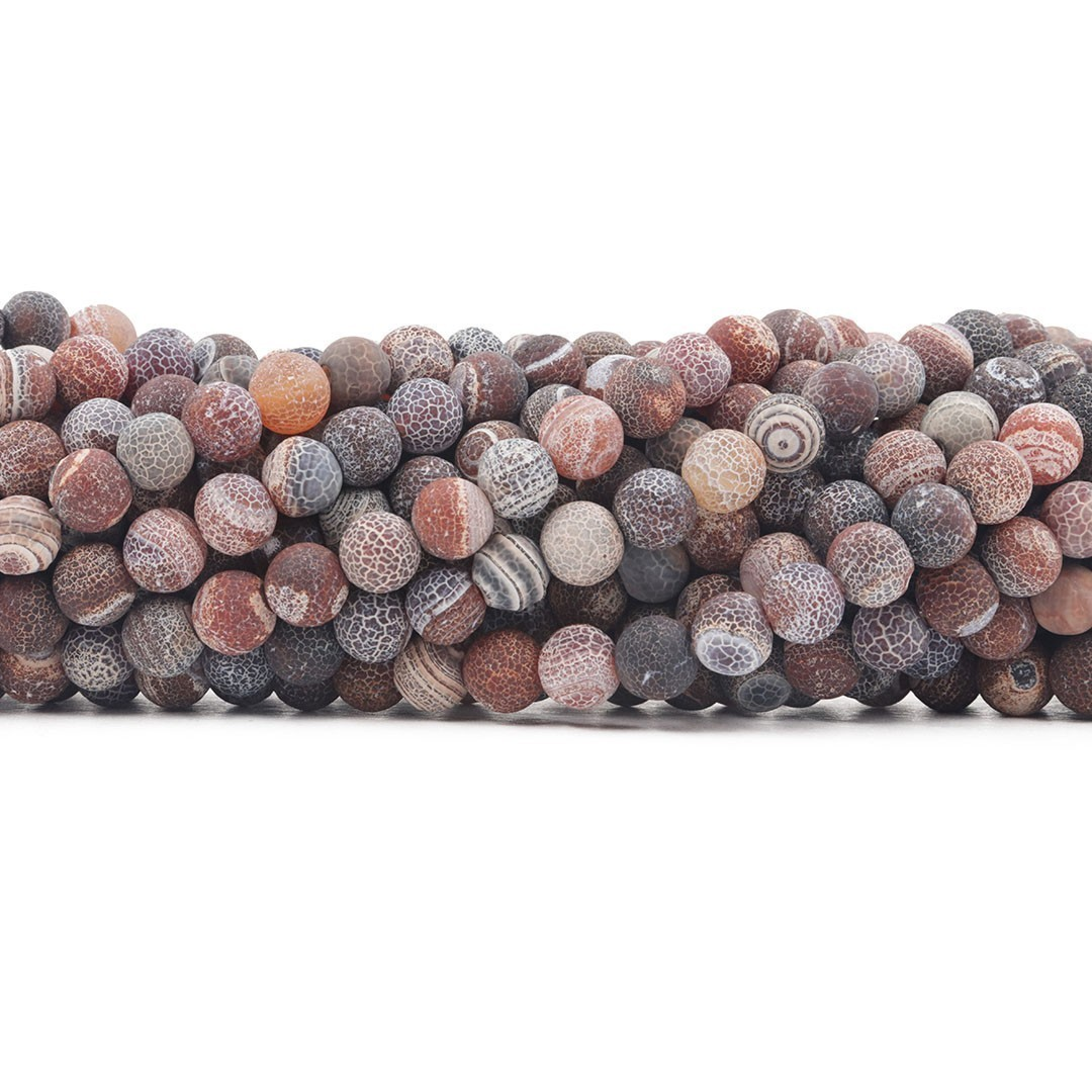 Ágata Botswana Marrom Craquelada Fio com Esferas de 8mm - F507  - ArtStones