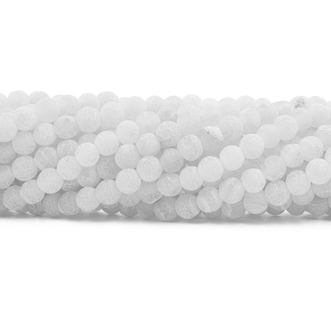 Ágata Branca Craquelada Fio com Esferas de 6mm - F000  - ArtStones