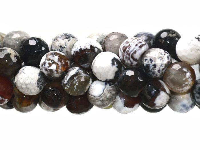 Ágata Café Mix Fio com Esferas Facetadas de 8mm - F098  - ArtStones