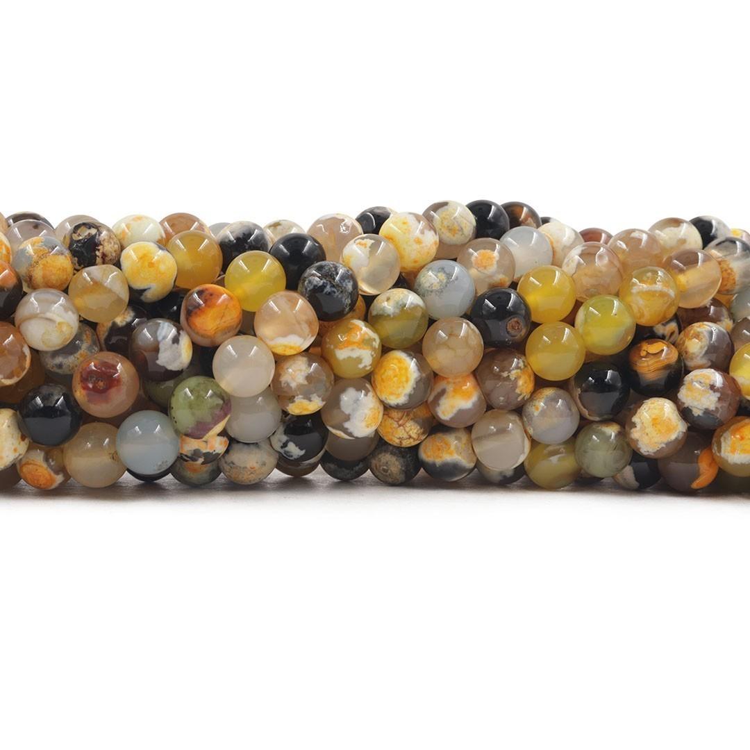Ágata Collor Mix Amarela Fio com Esferas de 8mm - F017  - ArtStones