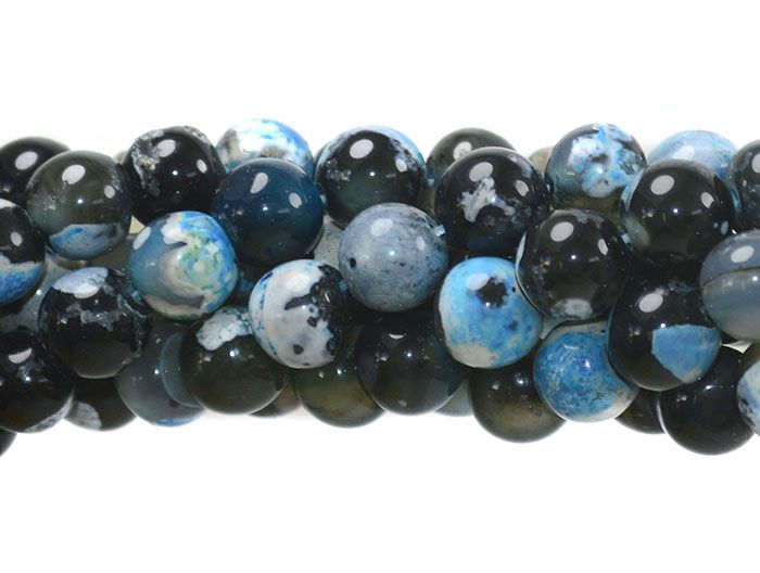 Ágata Collor Mix Black Azul Fio com Esferas de 8mm - F089  - ArtStones
