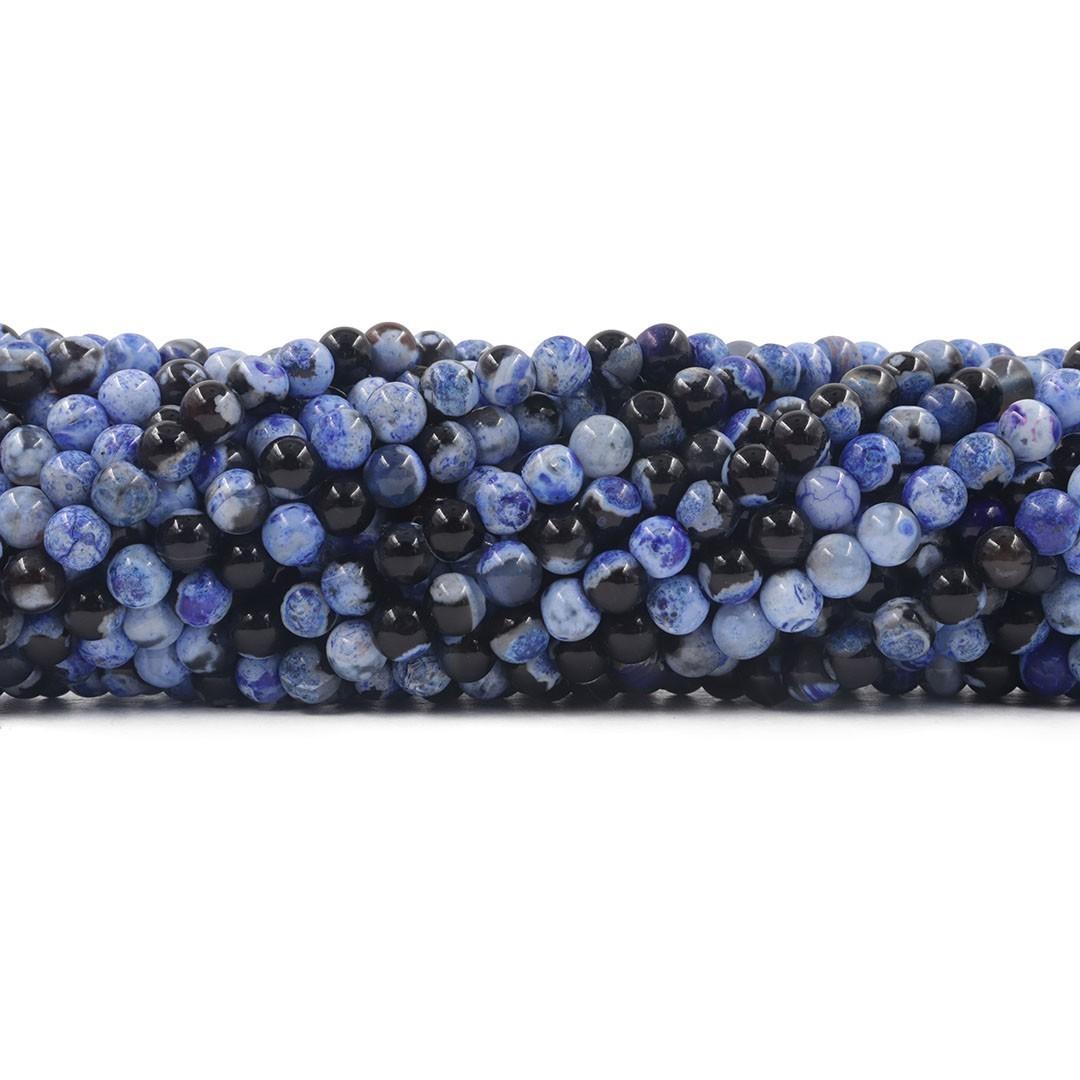 Ágata Collor Mix Dark Blue Fio com Esferas de 6mm - F192  - ArtStones