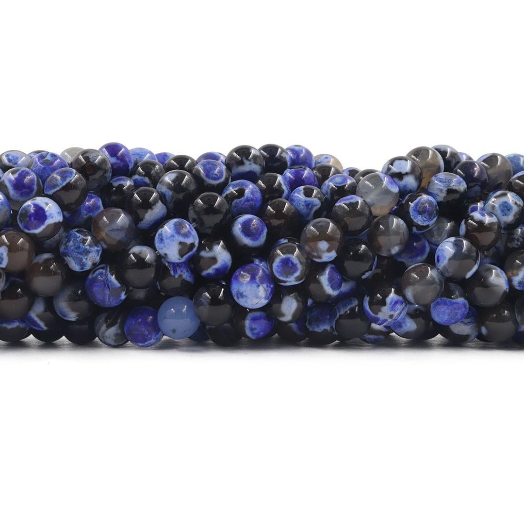 Ágata Collor Mix Dark Blue Fio com Esferas de 8mm - F218  - ArtStones