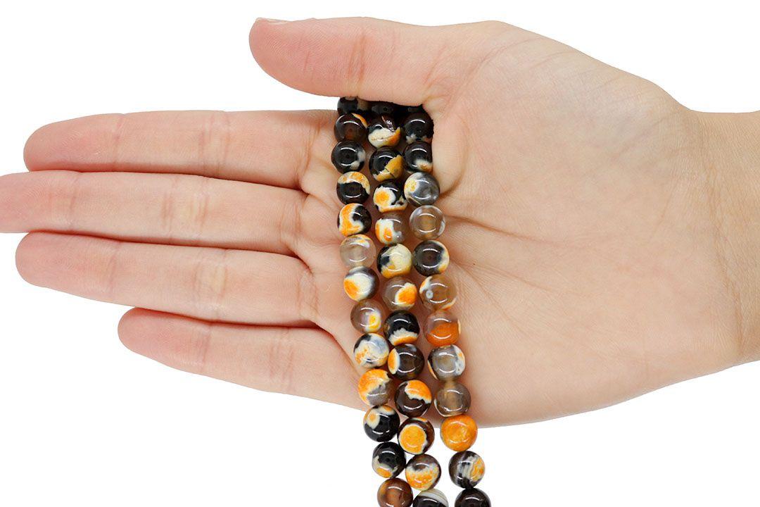 Ágata Collor Mix Black Orange Fio com Esferas de 8mm - F113  - ArtStones