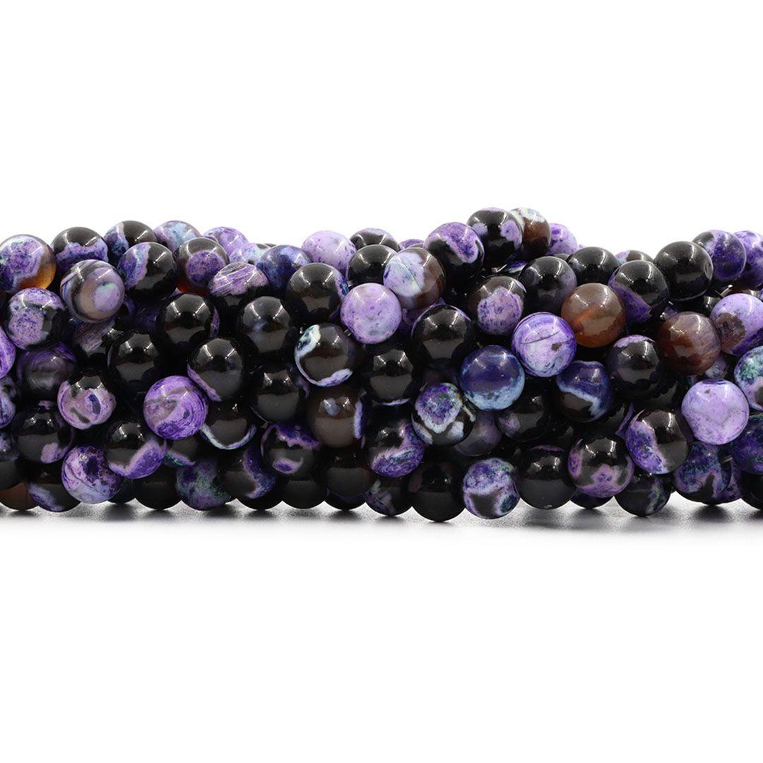 Ágata Collor Mix Black Purple Fio com Esferas de 8mm - F593  - ArtStones