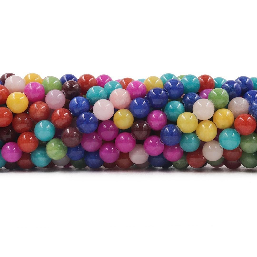 Jade Collore Mix Fio com Esferas de 8mm - F571  - ArtStones