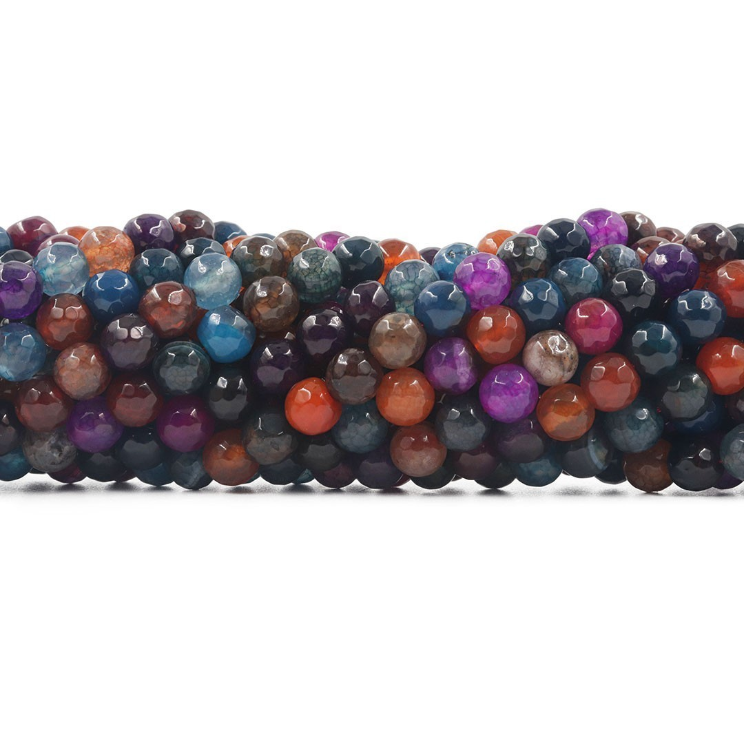 Ágata Collor Mix  Fio com Esferas Facetadas de 8mm - F526  - ArtStones