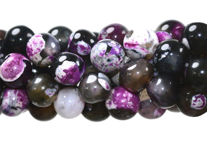 Ágata Collor Mix Pink Fio com Esferas de 8mm - F106  - ArtStones