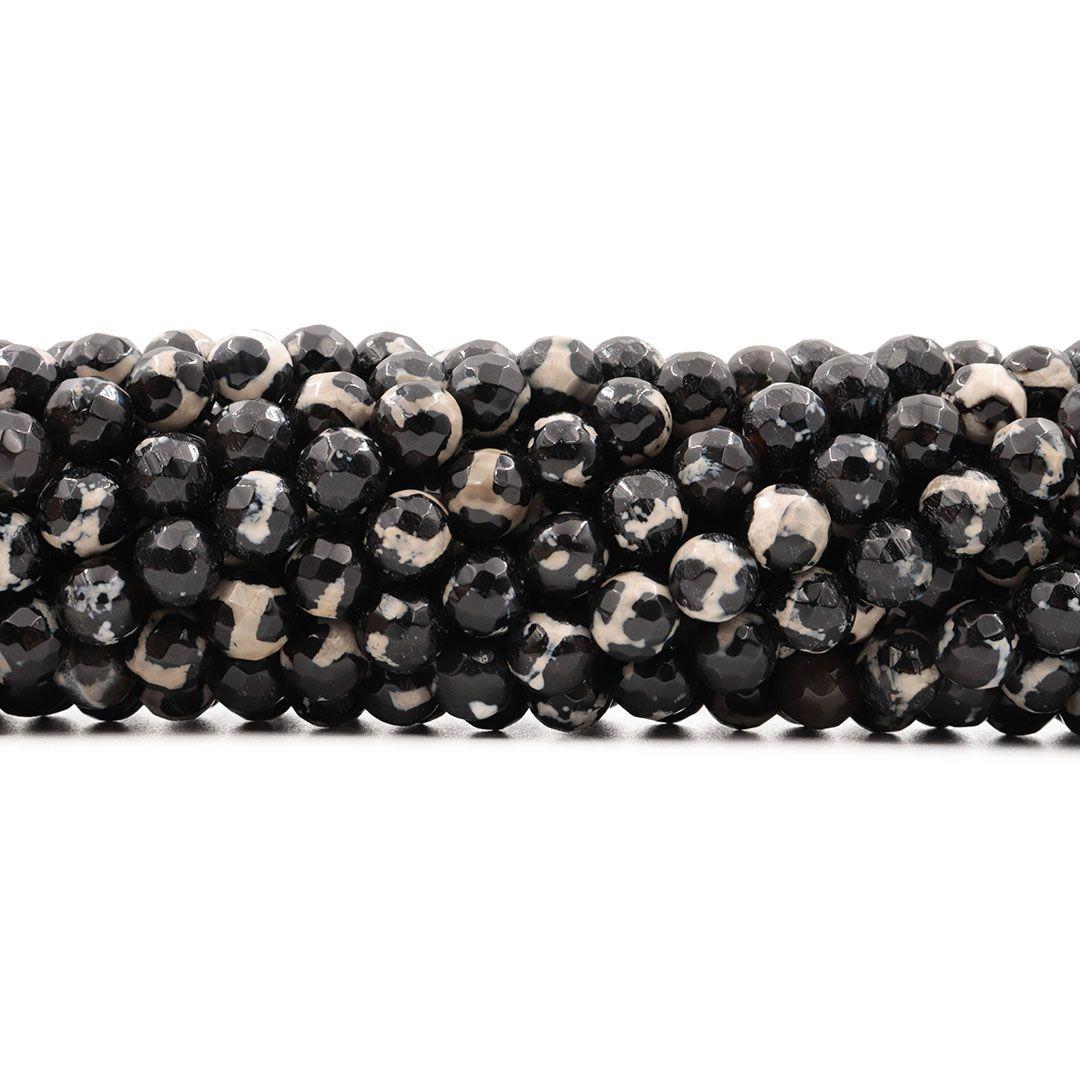Ágata Natural Black White Fio com Esferas Facetadas de 8mm - F105  - ArtStones